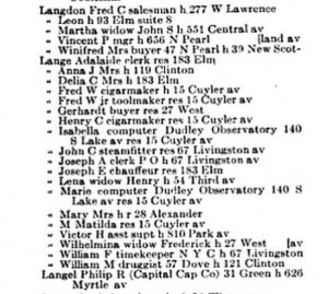 Page of Albany Directory from 1922 listing Isabella & Marie Lange as Dudley computers