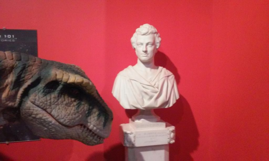 Charles E. Dudley meets a velociraptor