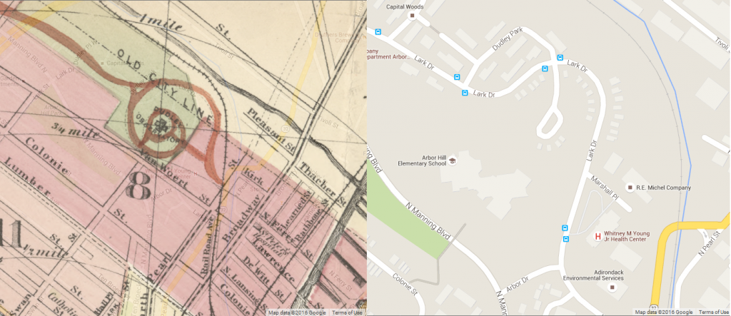 Left: 1877 map  Right: 2016 Google map